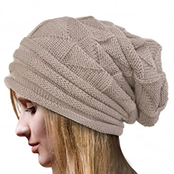 Women Girls Trendy Warm Chunky Soft Marled Cable Knit Slouchy Beanie  Oversized Baggy Ponytail Messy Bun 20b6e8f424