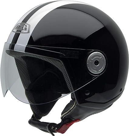 Amazon.es: NZI Vintage II Casco de Moto, Negro con Rayas Blancas ...
