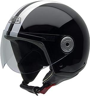 NZI Vintage II Casco de Moto, Negro con Rayas Blancas, 57 (M)
