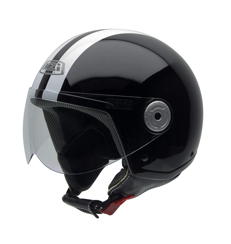 Negro Suave 58 L NZI Vintage II Casco de Moto Negro