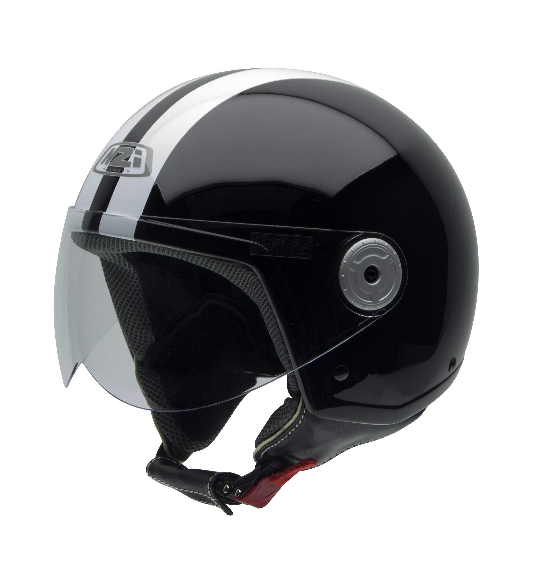NZI Vintage II Casco de Moto, Negro con Rayas Blancas, 55-56 (