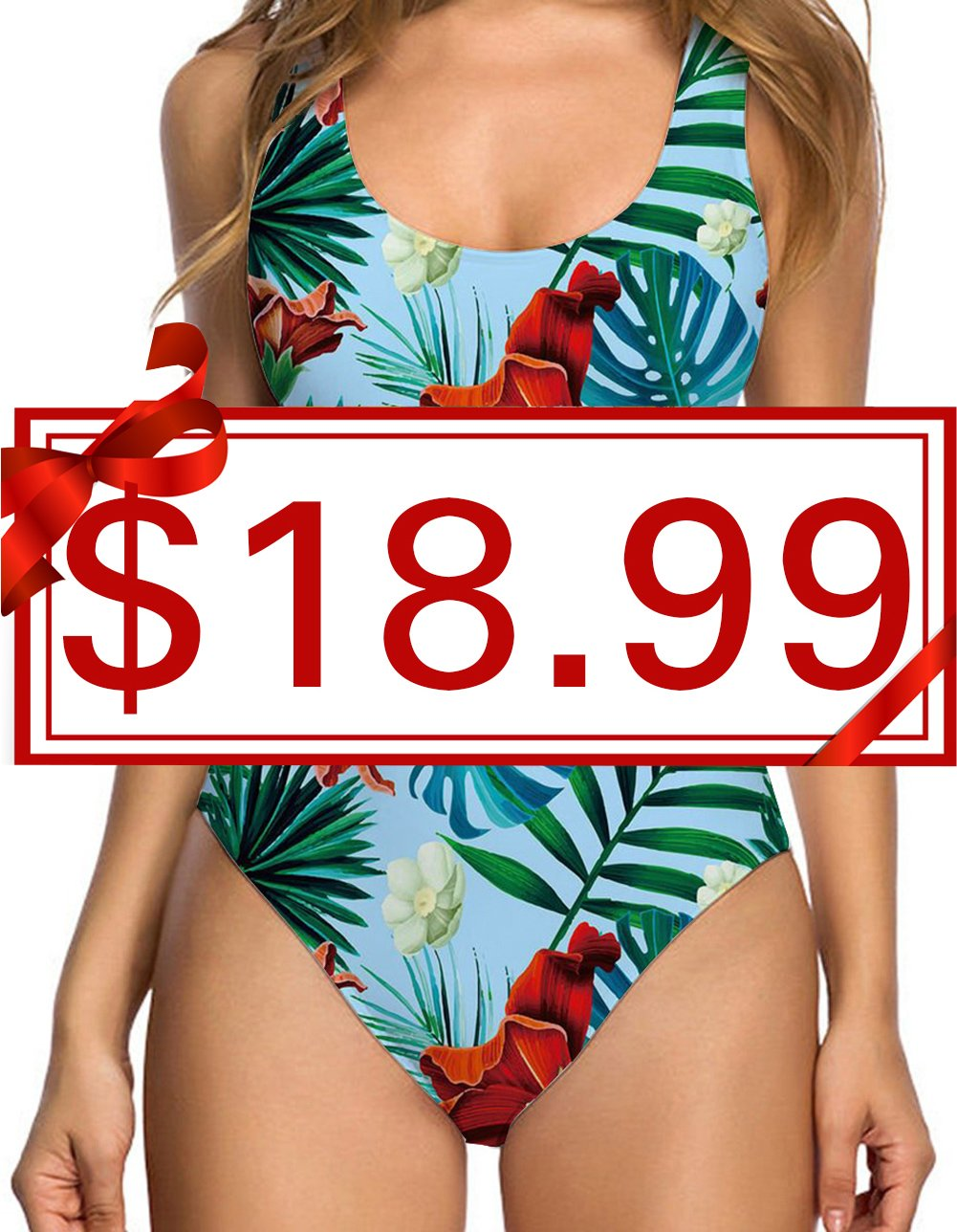 TUONROAD Floral Prints Sexy One Piece Swimsuit Funny Pattern Inspired Competition Exercise Swimwear Monokini Bathing Suit with High Cut and Low Back for Women,Large,Blue Leaves-1