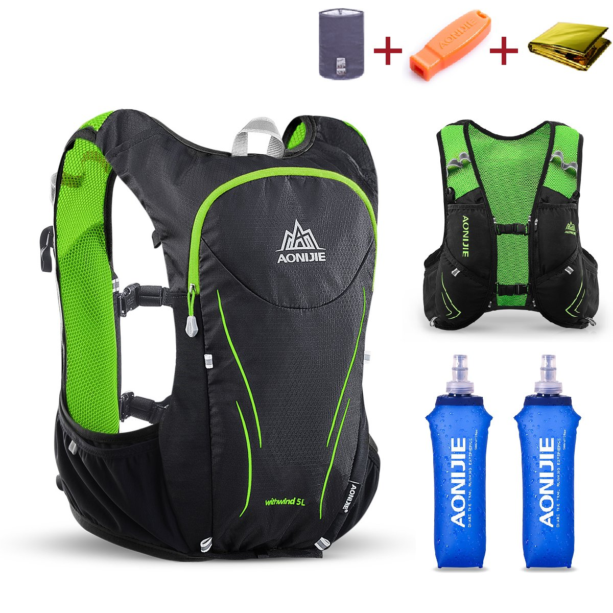 TRIWONDER Hydration Pack Backpack 5L Lightweight Deluxe Marathoner Running Race Hydration Vest (Black & Green - with 2 Soft Water Bottles, M/L - 34.6-39.4in)