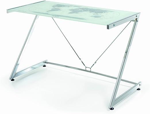 Mesa de Ordenador Mesa pc diseño Moderno, Cristal y Metal: Amazon ...