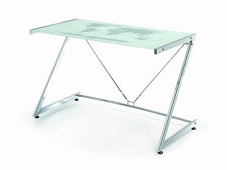 Due-home Mesa de Ordenador Mesa pc diseño Moderno, Cristal y Metal ...