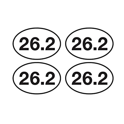 "4 Pack 26.2 Marathon Running Sticker Bumper Sticker Oval 5"" x 3"" Decal Runner Track Run: Automotive"