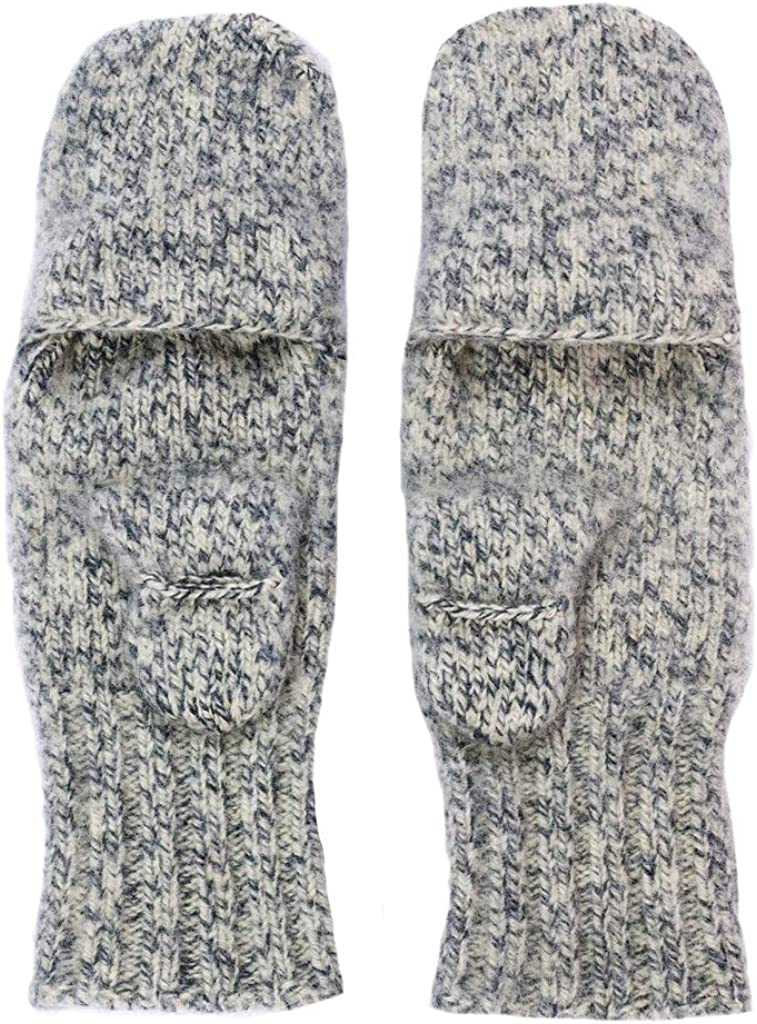 Dachstein Woolwear 100% Extra Warm Boiled Wool Fingerless Mittens with Attached Cap at  Men's Clothing store