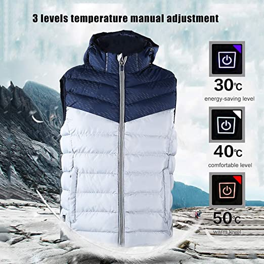 Mens Heated Jacket Coat USB Electric Heating Vest Light Parka Outwear S-4XL