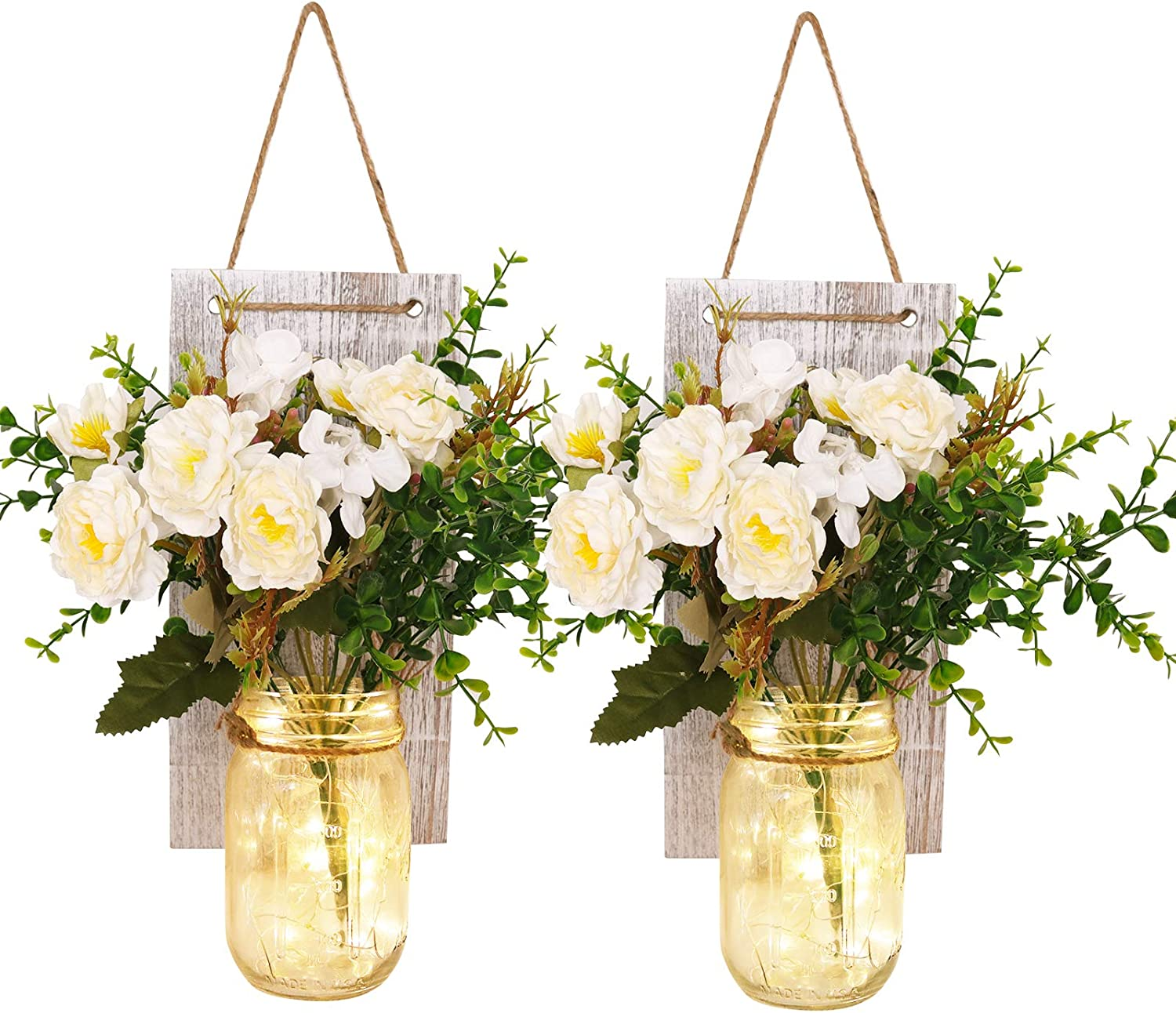 Rustic Mason Jar Sconces Wall Decor Handmade Wall Art Hanging Design with Remote Control LED Fairy Lights and White Peony For Home, Living Room, Bedroom, Kitchen, Farmhouse Wall Decoration (Set of 2)