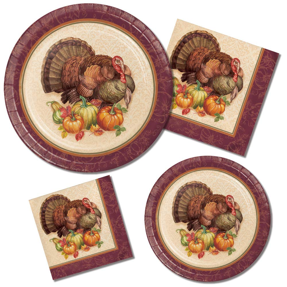 Thanksgiving Paper Plates and Napkins Set - Very Cute Set of 32 Paper Plates and 32 Napkins Featuring a Turkey Thanksgiving Theme - 64 Total Pieces Great Value