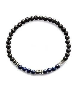 Me&Hz Lapis Lazuli Black Lava Chakra Beaded Bracelet Stretch Spirit Healing Blue Stone Bead Yoga Bracelet