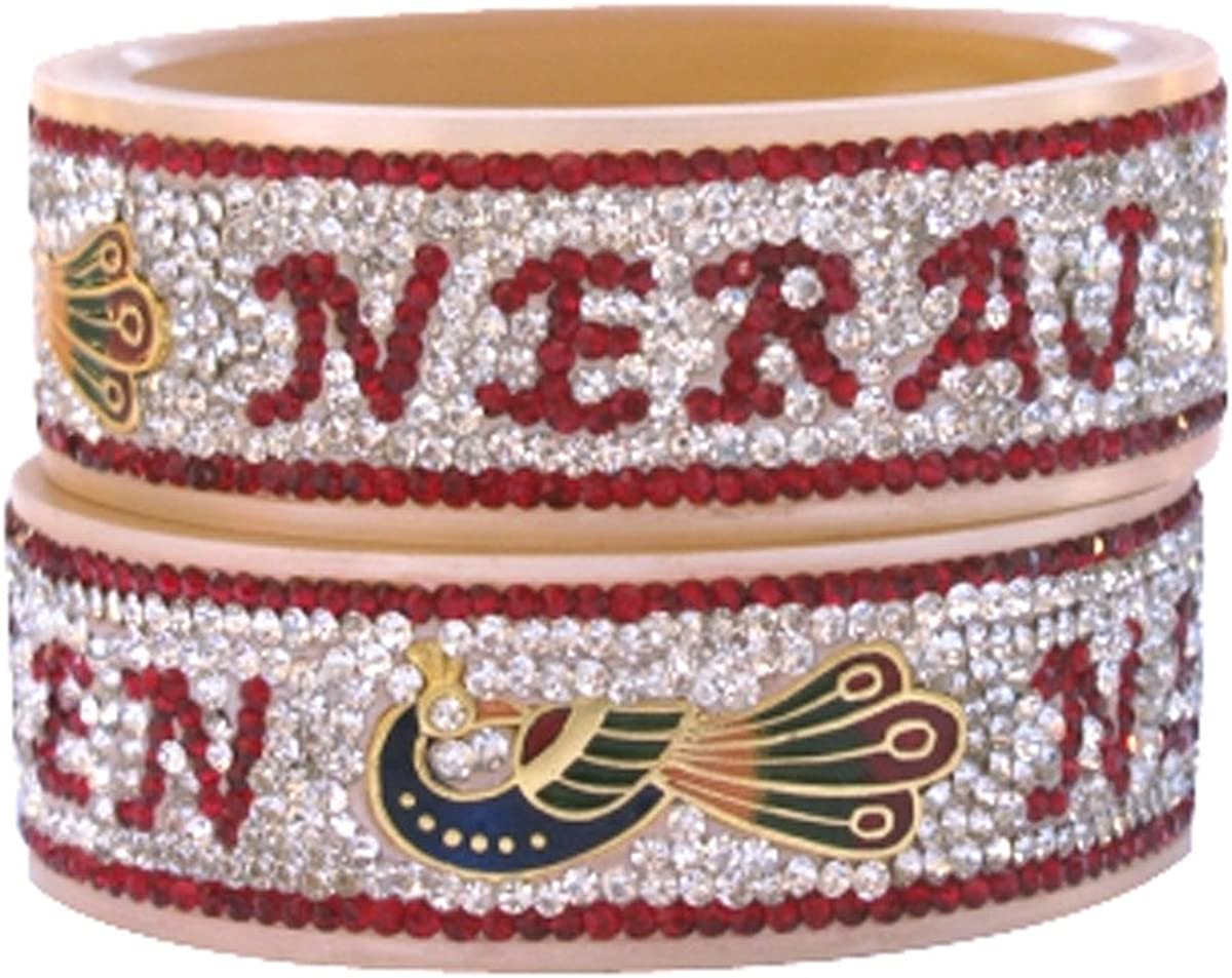 Bellofox Indian Handmade Name Kada Bridal Bangle Bracelet Set Partywear Ethnic Jewelry