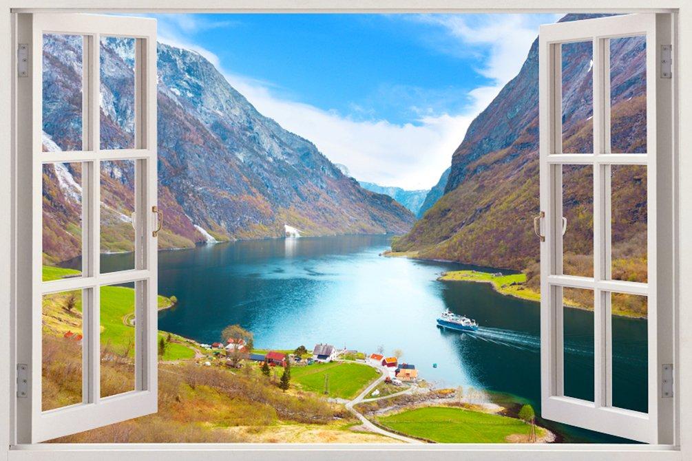 取り外し可能な大型3Dビニル製樹脂プリントウォールステッカー 山の自然が広がる美しいおしゃれでユニークな窓の奥行きある鮮やかな田舎風デザイン サイズ85.09 × 119.38 cm B00OHYQ98C WIN-170 WIN-170