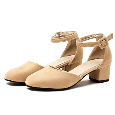 c1add4f378e Feilongzaitianba Women Shoes High Heels Ankle Strap Ladies Pumps New Casual  Mid Thick Heels Two Piece