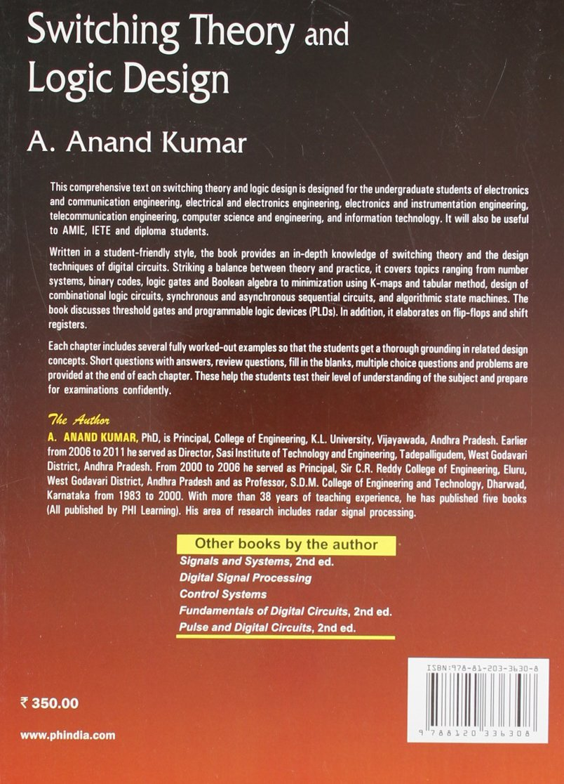 Switching Theory And Logic Design By Anand Kumar Ebook