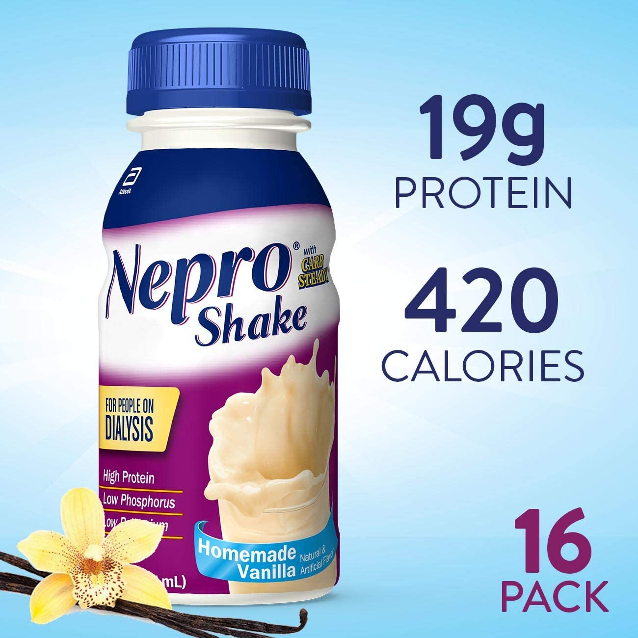 Nepro Nutrition Shake for People on Dialysis, with 19 Grams of Protein, 420 Calories, Vanilla, 8 fl oz, 16 Count 716BWX2B3YfL