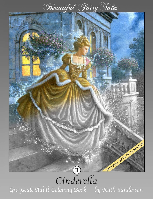 Amazon.com Cinderella Grayscale Adult Coloring Book Beautiful ...