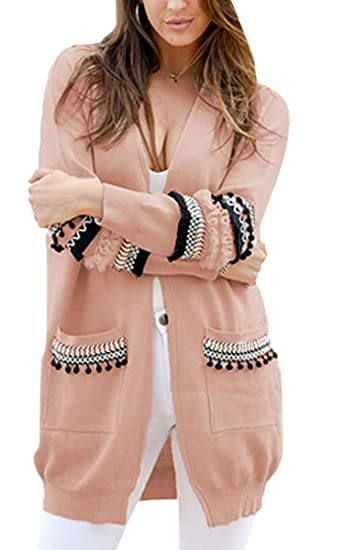d24beacb29a2 ECOWISH Womens Casual Light Weight Open Front Long Sleeve Boho Knit Sweater  Cardigan With Pockets Pink