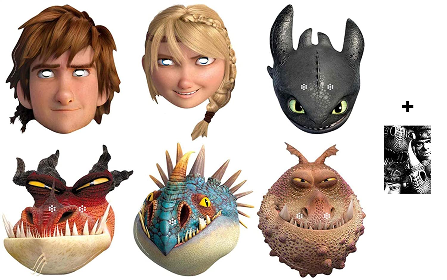 How To Train Your Dragon 2 (Dragons 2) - Masque en carton de 2D paquet de 6 (Hiccup, Toothless, Astrid, Nadder, Gronckle et Monstrous Nightmare) Comprend une photo étoile (15x10cm)