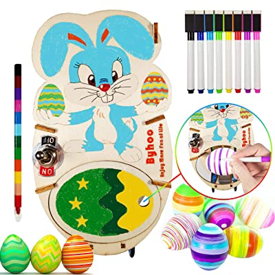 Byhoo Easter Bunny Egg Spinner Easter Eggs Decorator Kit Eggs Spin Machine with 8 Coloring Markers & 1 Crayon for Easter Eggs Coloring Painting for Kids Adults - NO Dyes: Toys & Games
