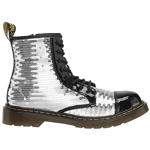 19015d2d98f1 Dr.Martens Youth 1460 Pooch Sequin Leather Black Silver Boots 4 UK