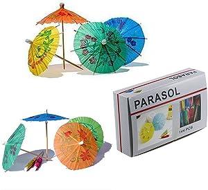 ISusser 144pcs 4 Inch Multicolor Paper Cocktail Drink Umbrellas, Hawaiian Tropical Cocktail Parasols