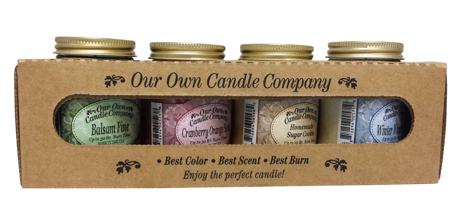 Our Own Candle Company 4 Pack Christmas Assortment Mini Mason Jar Candles - 3.5 Oz Balsam Pine, 3.5 Oz Cranberry Orange Spice, 3.5 Oz Homemade Sugar Cookie, 3.5 Oz Winter Wonderland