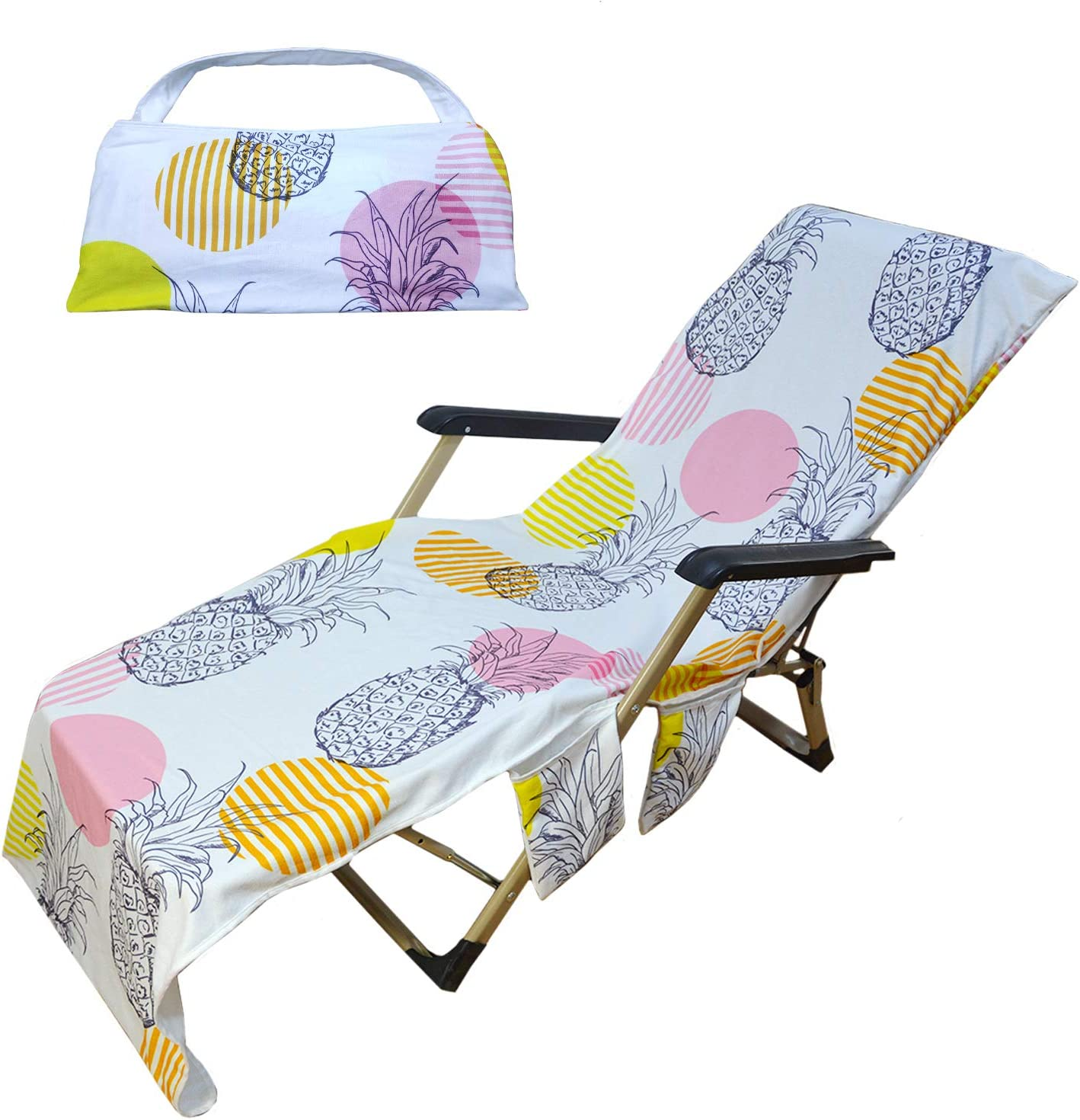 Pool Lounge Chaise Towel Sun Lounger with Side S... Freesooth Beach Chair Cover
