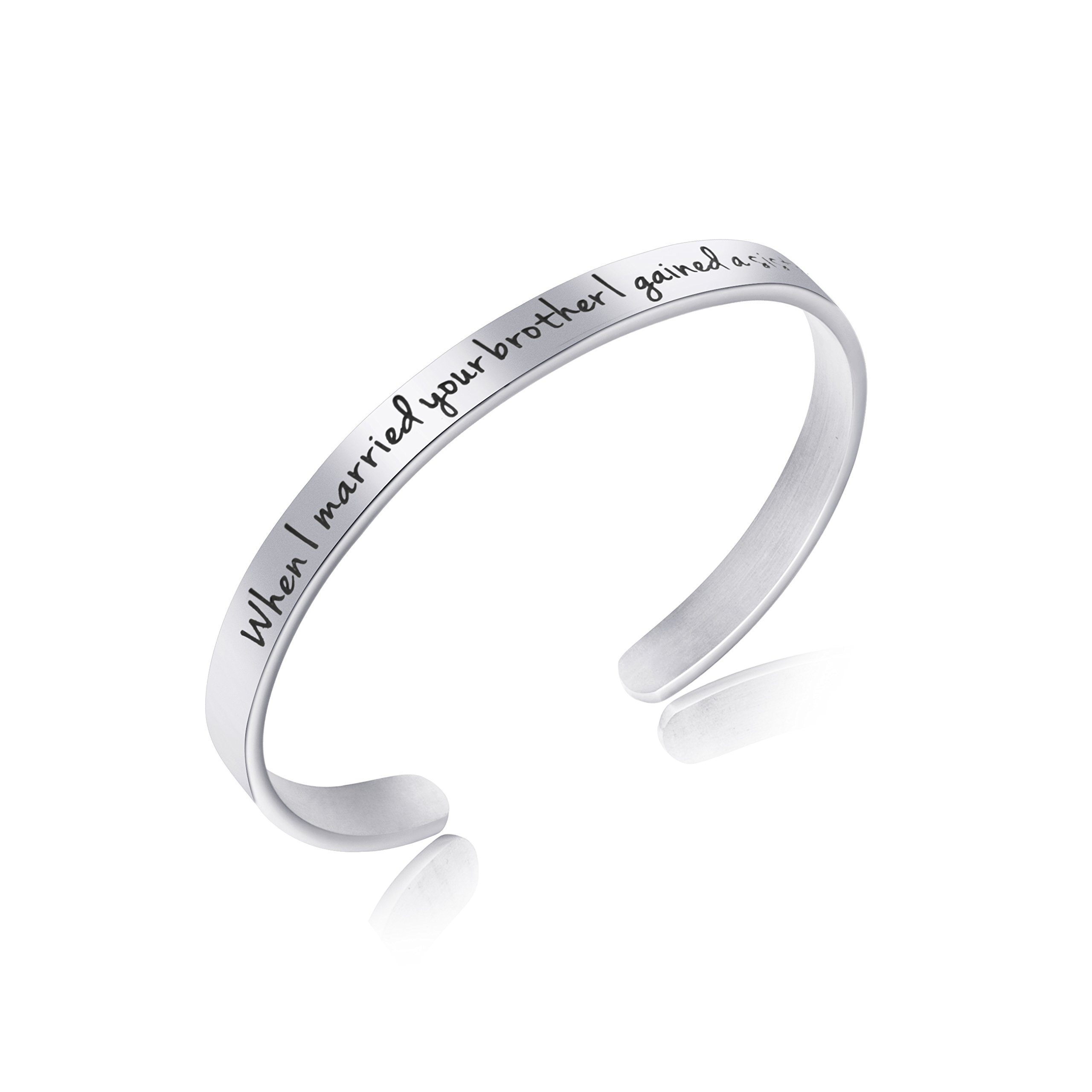 Awegift Sister in Law Jewelry Sister the Groom Wedding Party Gifts Her Personalized Mantra Cuff Bracelet