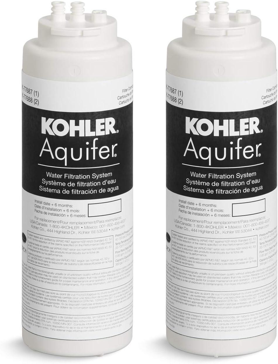 KOHLER K-77688-NA Aquifer Replacement Filter Cartridge 2 Pack