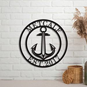 Anchor Sign Nautical Beach Wall Decor Metal Sign Custom Family Name Personalized Rustic Door Hanger Black Sign for Housewarming Gift Indoor Outdoor