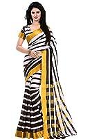 Trendz Women's Cotton Silk Saree With Blouse Piece(Tz_Zebra_Black & White_Free Size)