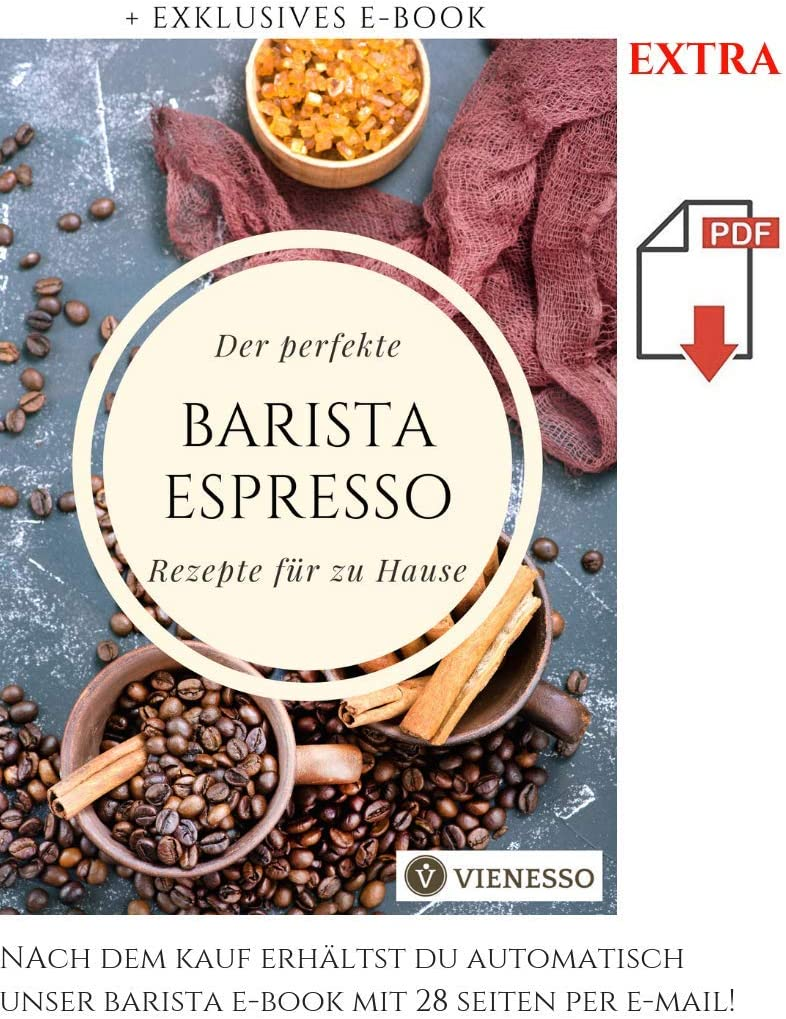 Barista pour Un caf/é Parfait Marron 57 mm VIENESSO Lot de 2 tampons /à Expresso en Acier Inoxydable et poign/ée en Bois v/éritable de qualit/é sup/érieure avec Tapis