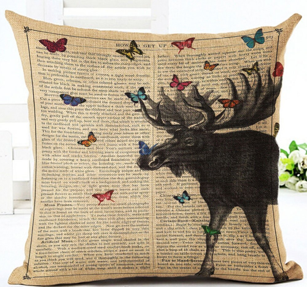 Lacanu Cotton Linen Retro Book Page Illustration Black Sketch European Decoration Colorful Birds Pillow Covers Cushion Cover Decorative Sofa Bedroom Square 18 inches /¡/