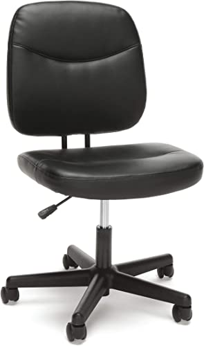 OFM Essentials Collection Armless Leather Desk Chair, in Black ESS-6005-BLK