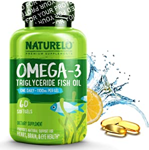 NATURELO Omega-3 Fish Oil - 1100 mg Triglyceride Omega 3 - High Strength DHA EPA Supplement - Best for Brain, Heart, Joint Health - No Burps - Lemon Flavor - 60 Softgels | 2 Month Supply