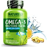 NATURELO Omega-3 Fish Oil - 1100 mg Triglyceride Omega 3 - High Strength DHA EPA Supplement - Best for Brain, Heart…