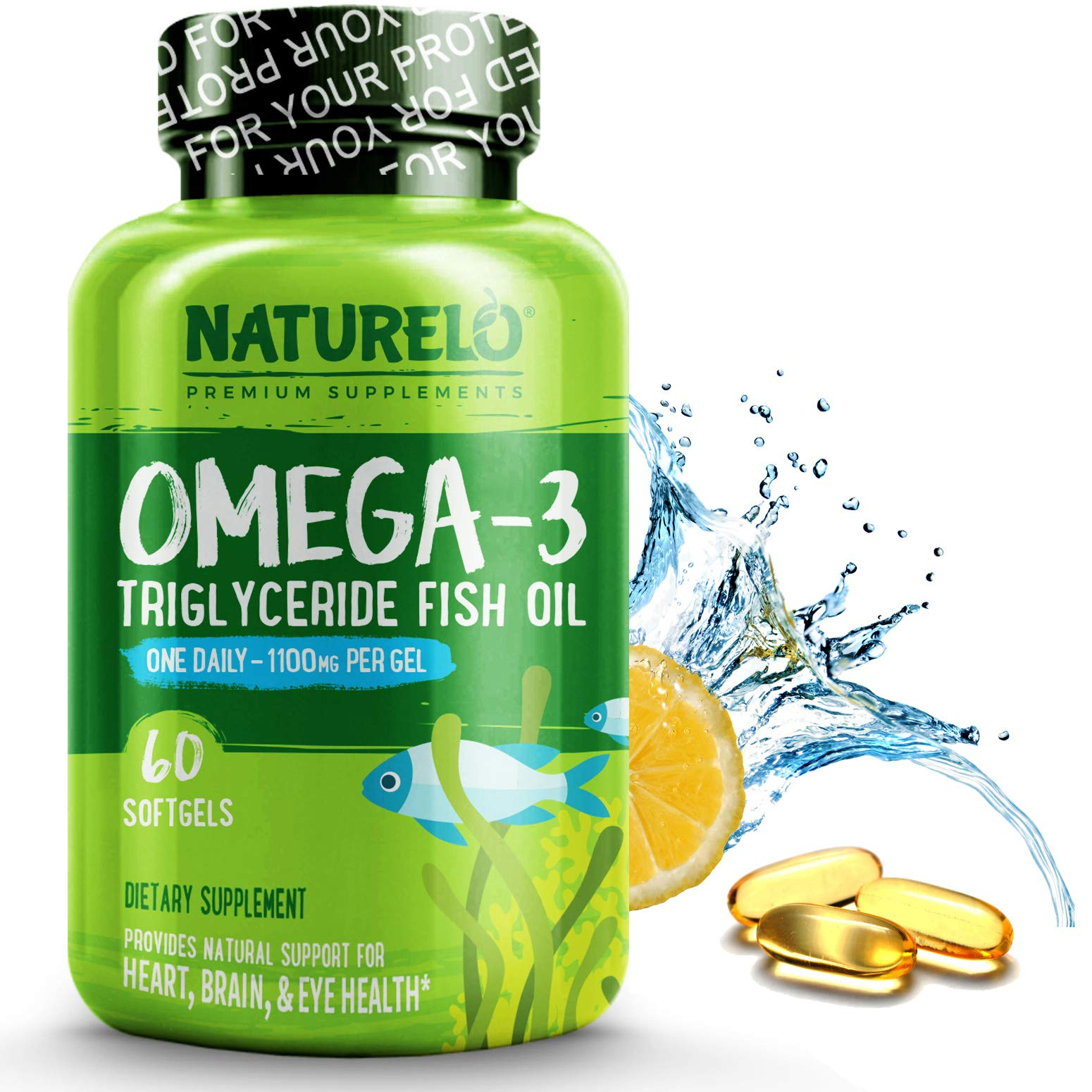 NATURELO Premium Omega-3 Fish Oil - 1100 mg Triglyceride Omega 3 - High Strength DHA EPA Supplement - Best for Brain, Heart, Joint Health - No Burps - Lemon Flavor - 60 Softgels | 2 Month Supply