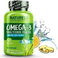 NATURELO Omega-3 Fish Oil - 1100 mg Triglyceride Omega 3 - High Strength DHA EPA Supplement - Best for Brain, Heart, Joint Health - No Burps - Lemon Flavor - 60 Softgels | 2 Month Supply