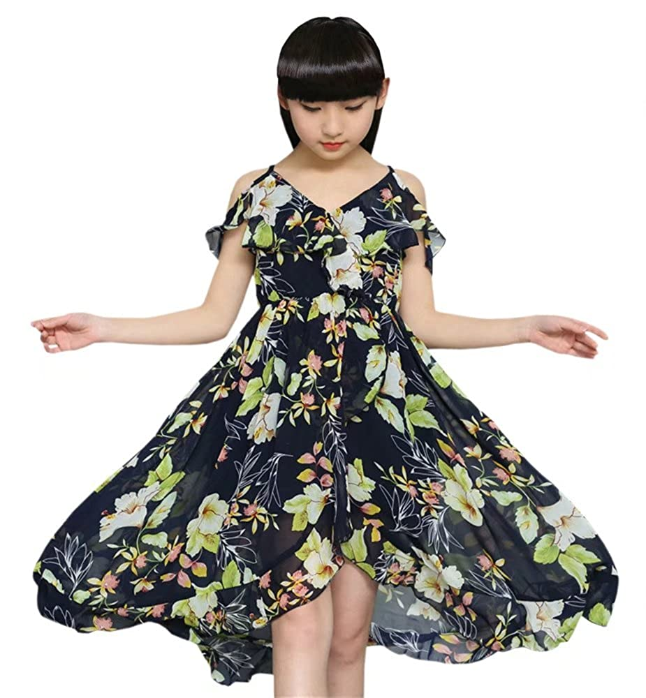 d9cbfb7839b7 Amazon.com: BINPAW Girl's Spaghetti Strap Off Shoulder Hawaiian Flowers  Maxi Beach Dress: Clothing