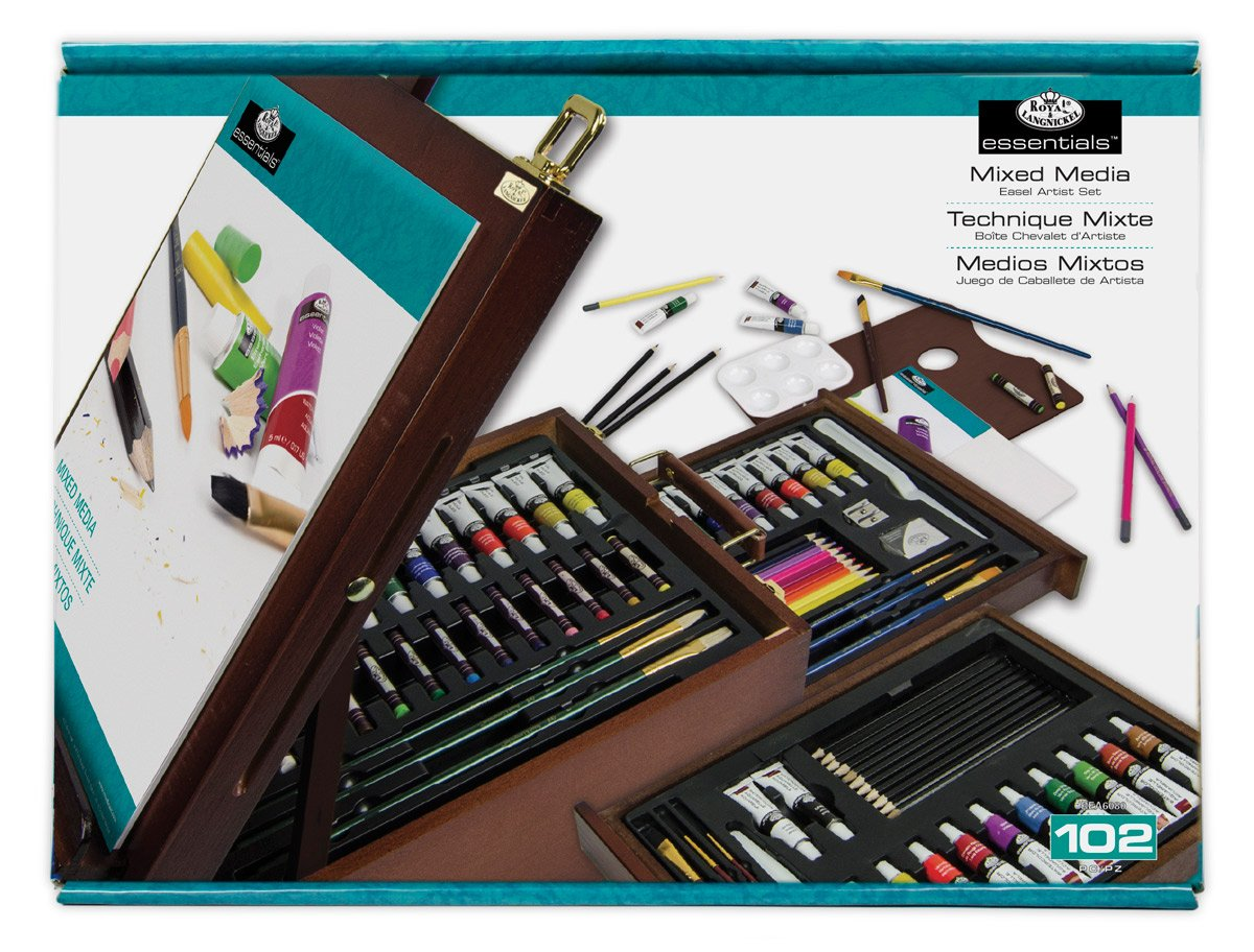 R and L 108-Piece Mixed Media Dark Easel Set by Royal & Langnickel