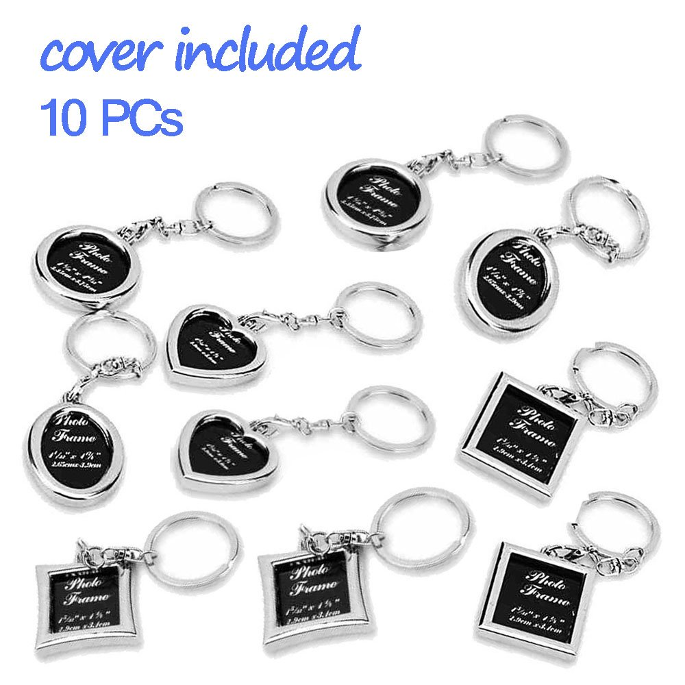 "Photo Frame Key Chain Set - 10 Pieces Round, Square, Oval, Rectangle and Heart Shape Mini Metal Picture Holder Key Ring for Best Friend, Girlfriend Boyfriend and Mom Dad Grandma by ""wonder X"""