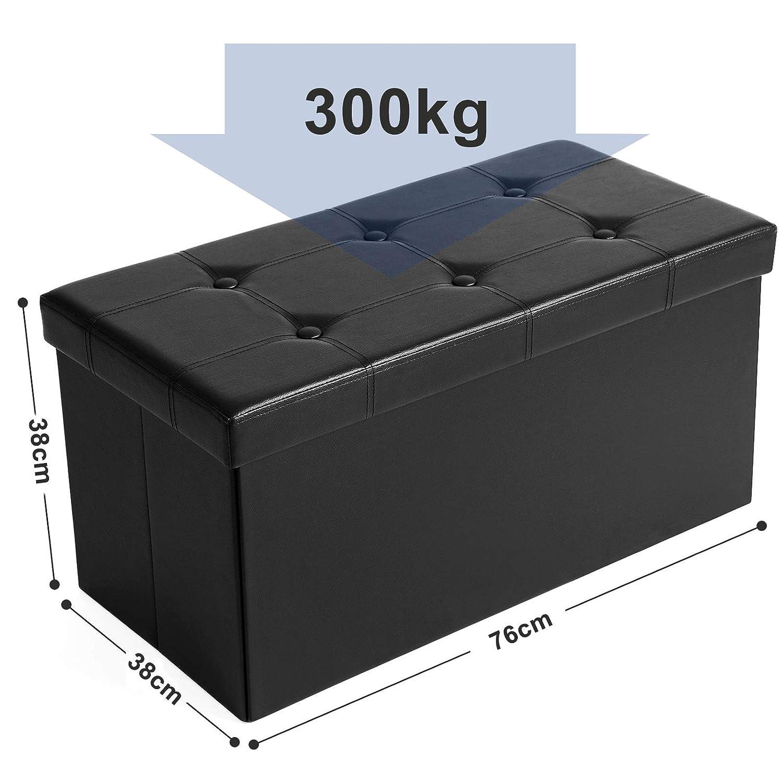 SONGMICS 76 x 38 x 38 cm Baúl Puff Taburete para almacenaje Plegable Carga máxima de 300 kg Negro LSF105