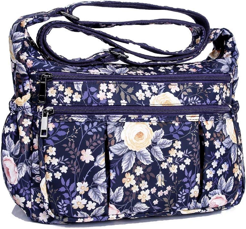 Crossbody Bags For Women Waterproof Shoulder Bags Multi Pocket Travel Purses And Handbags Lightweight Messenger Bag Flower Rfid Blocking Handbags Amazon Com