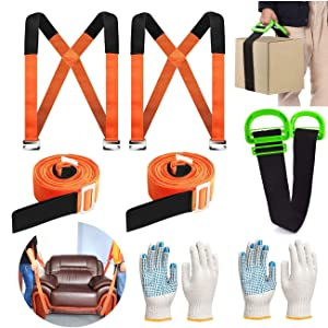 Furniture Moving Straps, YELIKIT 2-Mover Adjustable Lifting Straps and One Person Lifting Moving Strap, Moving for Secure Furniture, Appliances, Heavy, Bulky Objects Safely, More Easily
