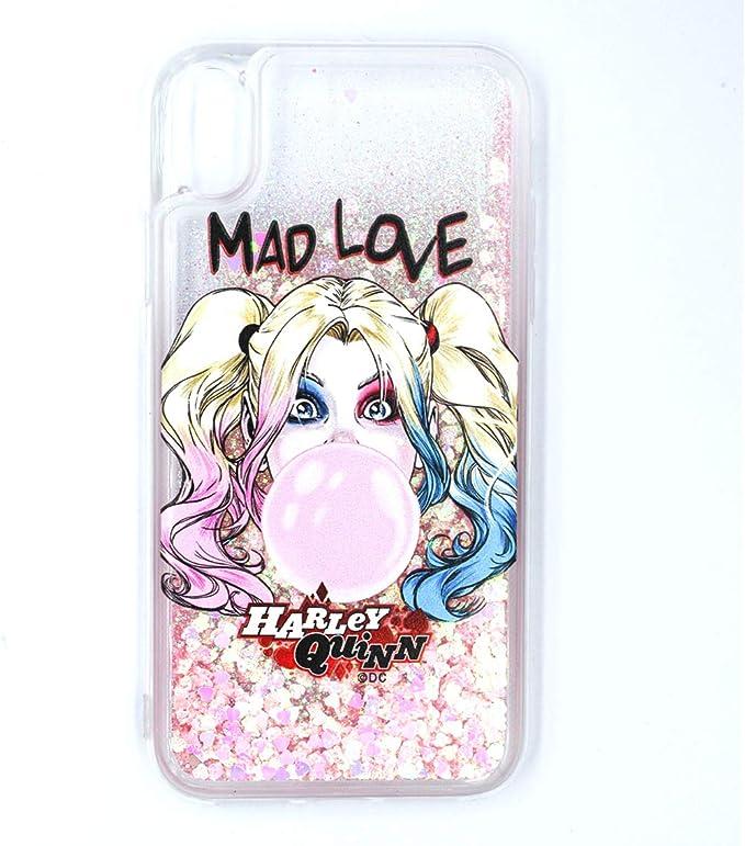 ERT DC Comics WPCHARLEY066 Coque pour iPhone XR Motif Harley Quinn Transparent/Rose pailleté