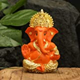 Collectible India Gold Plated Red Terracotta Ganesha Statue (Size 3.5 x 2 Inches)
