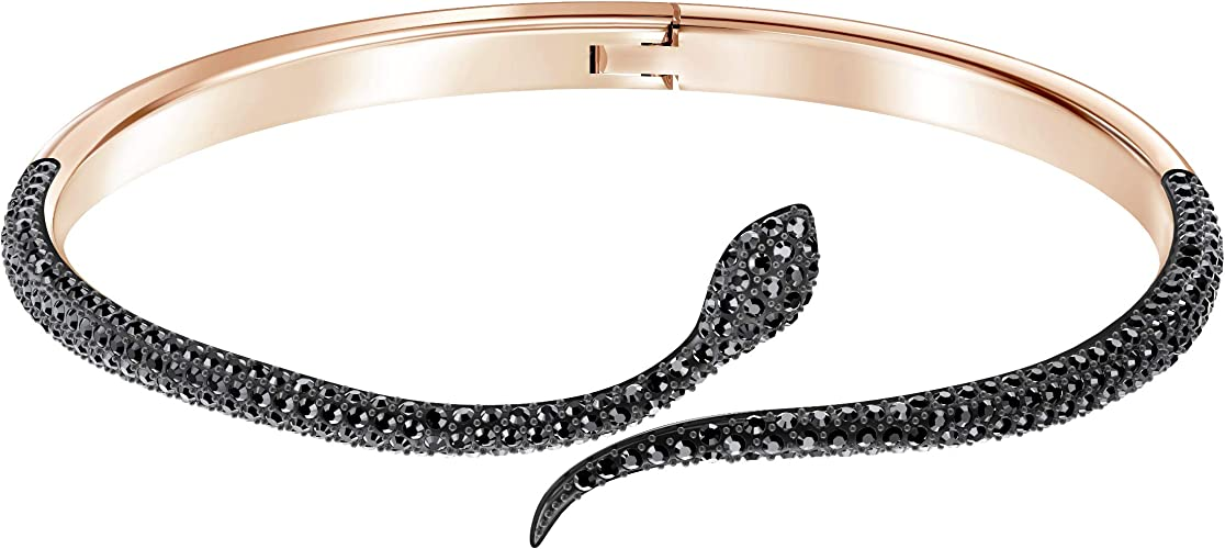 Swarovski Bracelet-jonc Leslie, Noir, plaqué Or Rose