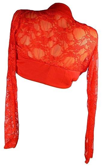 Sexy Mujer Bolero manga larga chaqueta Red puntiaguda jäckchen boda fiesta BO1 rojo