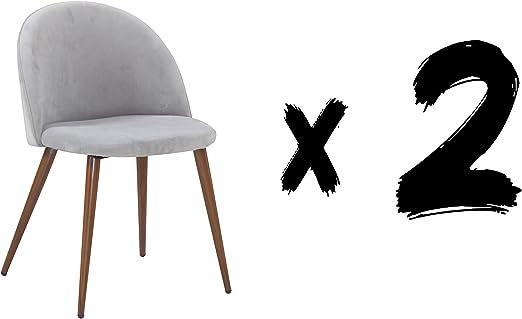 Suárez Gris Pack de 2 sillas Velvet, Acero, 59x55x65 cm: Amazon.es ...